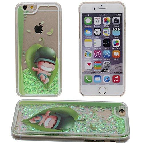 iPhone 6S Coque, Mignon Cartoon Petit Garçon Peinture Flowable Liquide Eau Vert Étoiles Clair Transparent PC Plastique Dur Housse de protection Case pour iPhone 6 6S 4.7 inch
