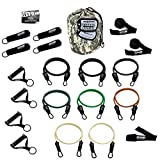 Bodylastics The Combat Ready Warrior Resistance Band Sets come with 6 or 8 Anti-Snap Exercise Tubes, Heavy Duty components and a small anywhere anchor (21 Pcs - 262 lbs, One Bag)