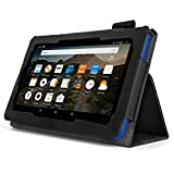 Bear Motion for Fire HD 8 (2016 Release) - Folio Case with Stand for Kindle Fire HD 8 (2016 Model) Smart Cover Case - Black