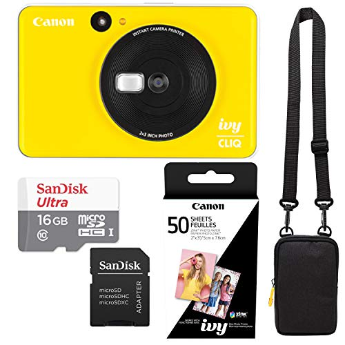 Canon Ivy Cliq Bumble Bee Yellow Instant Camera Printer Bundle with Zink Paper (50 Sheets), Camera Bag and 16GB MicroSD Memory Card