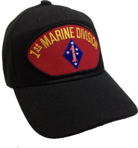 1st First Marine Division Black Ball Cap Hat Ballcap USMC US Marine Corps (Hat Division Marine)