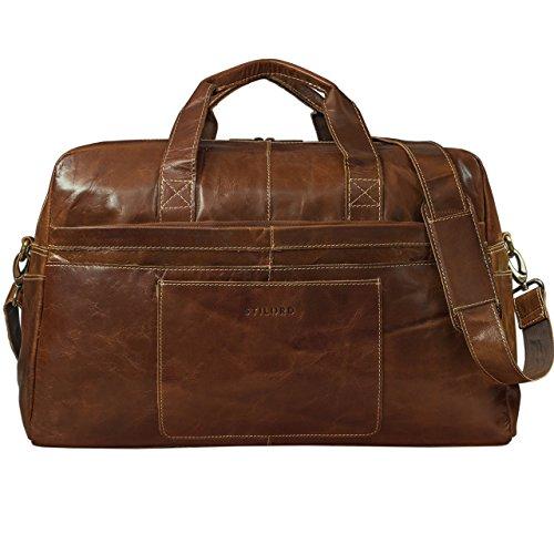 STILORD Vintage Reisetasche Umhängetasche Unisex Weekender für Flugzeug, Handgepäck in Kabinengröße, aus echtem Rinds Leder dunkelbraun