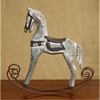 Urtop 1pcs Retro Wooden Crafts Rocking Horse Desk Decor Balance Art Figurines Home
