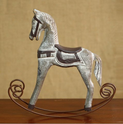 URTop 1Pcs Retro Wooden Crafts Rocking Horse Desk Decor Balance Art Figurines Home Office Decor DIY Bar Living Room Ornament Kids Toys 3 Colors