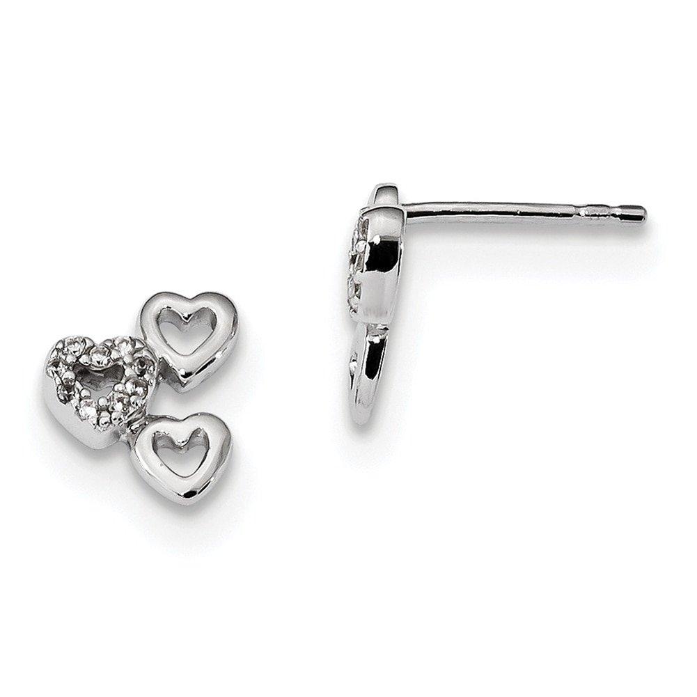 Lex /& Lu Sterling Silver w//Rhodium CZ 3-Heart Post Earrings