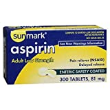 Sunmark Aspirin Adult Low Strength 81 mg, Enteric Coated - 300 ct
