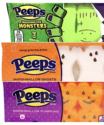 Peeps Exclusive Halloween Marshmallow Set! Choose From Marshmallow Monsters, Ghosts, Or Pumpkins! 1.125 oz Per Package! (3 Pack - Monsters, Ghosts, And Pumpkins)