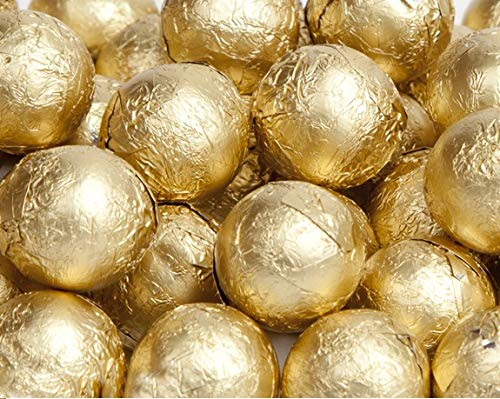 Gold Foiled Milk Chocolate Balls 1LB Bag