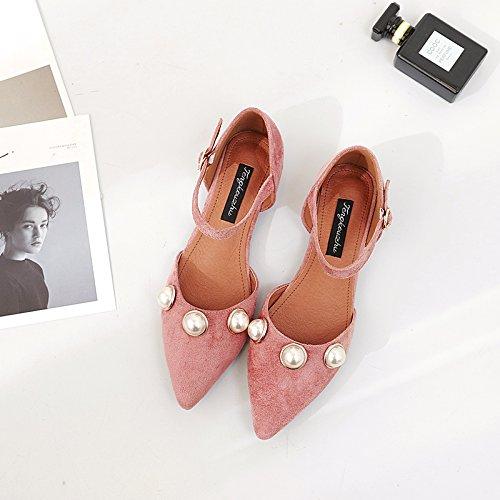 Xue Qiqi Court Schuhe Spitzhohe Wortschnalle der flachen Schuhe mit mit mit flachem flachem Mund der flachen Schuhe mit niedrigen Sandelholzfrauen der Schuhe 36 Rosa dc0737