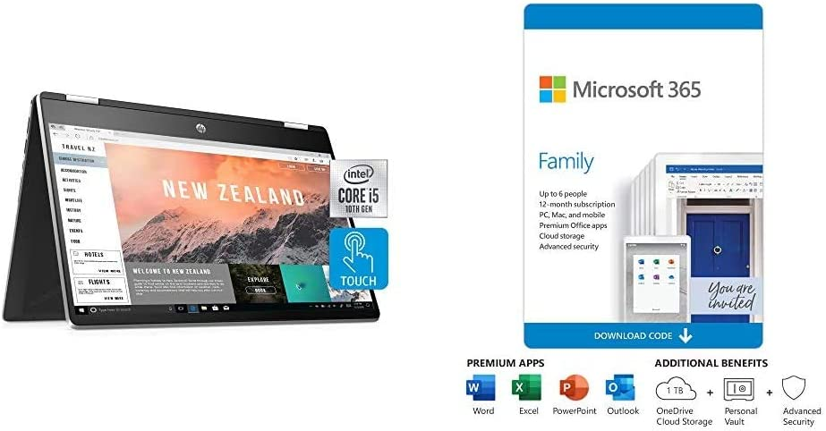 HP Pavilion x360 14-inch 2-in-1 Convertible Laptop, Natural Silver Plus Microsoft 365 Personal 12 Month, Auto-Renewing Subscription
