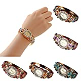 BCDshop Watch Women Luxury Fashion Casual Quartz Elegant Crystal Wristband Bangle Watch