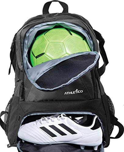 Athletico National Soccer Bag - Backpack for Soccer, Basketball & Football Includes Separate Cleat and Ball Holder (Black) (Boys Soccer Equipment)