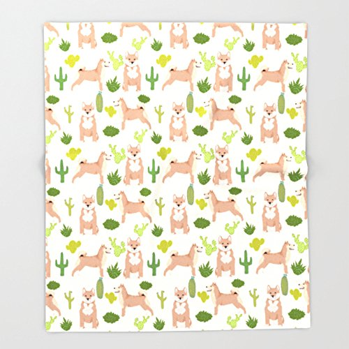Society6 Shiba Inu dog breed pet portrait unique pet friendly must have gifts accessories cactus dogs pets Throw Blankets 88'' x 104'' Blanket