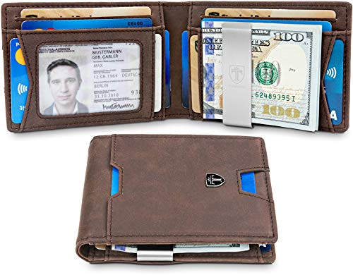 TRAVANDO Slim Wallet with Money Clip RFID Blocking Wallet | Credit Card Holder | Travel Wallet | Minimalist Mini Wallet Bifold for Men with Gift Box