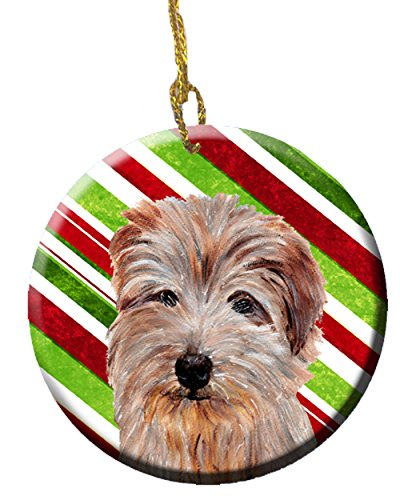 (Norfolk Terrier Candy Cane Christmas Ceramic Ornament SC9808CO1)