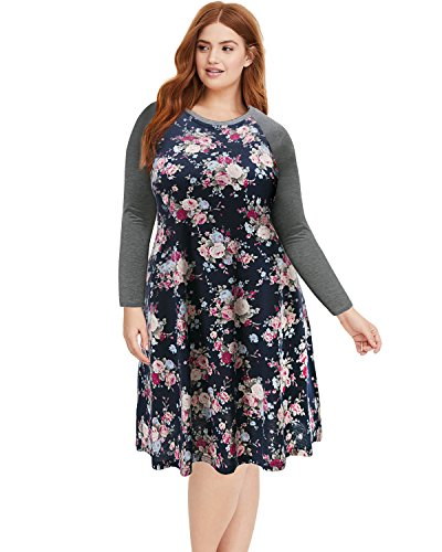 Pinup Fashion Women's Floral Long Sleeve Plus Size T-Shirt Casual Dress Navy 24W from Pinup Fashion