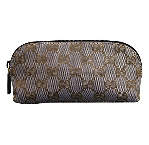 Gucci Brown Silver Makeup Case Canvas Cosmetic Bag 272367 8170