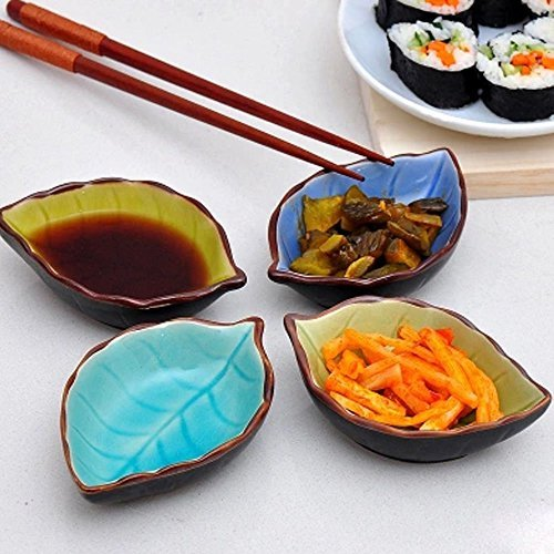 XIDUOBAO 4oz Asian Style Sauce Dishes Crackle Glaze Soy Sauce Dishes, Hand-Crafted Cream Condiment Dishes Dinnerware, Porcelain Ramekins, with 1 pcs Special Forks as a Gift, Set of 4