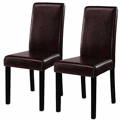 New Set of 2 Elegant Design Leather Contemporary Dining Chairs Home Room Durable Wooden Frame Durable Half-PU-Leather Fabric