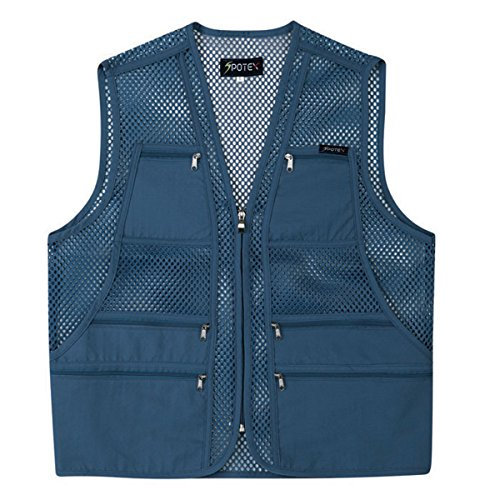 Mesh Hunting Vest - myglory77mall Men's Multi Pockets Fly Fishing Hunting Mesh Vest Outdoor Jacket XL US(3XL tag Asian) Blue