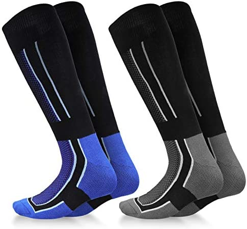 Ski Socks 2-Pack, Non-Slip Over The Calf for Skiing,Snowboarding,Cold Weather,Winter Performance Socks,US 6-13 Men