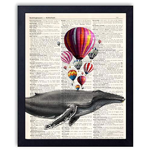 - Ihopes Whale with Hot Air Balloon Vintage Book Art Print - 8x10 Unframed