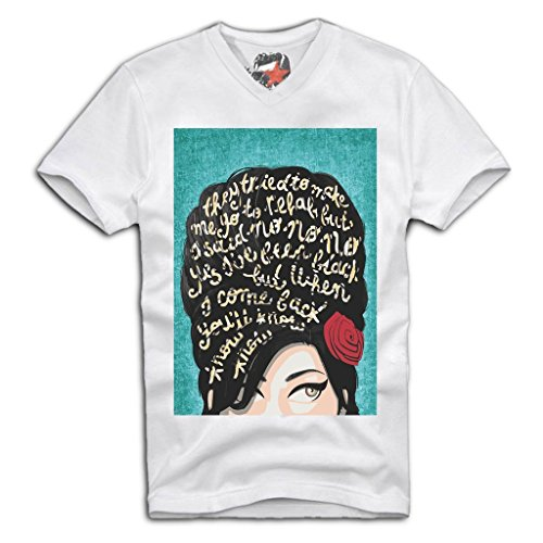 E1SYNDICATE V-NECK T-SHIRT AMY WINEHOUSE ICON TATTOO CLUB 27 WASTED ()