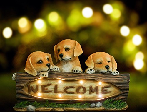 Garden Statues Sculpture Welcome Dogs, Solar Powered Wireless Outdoor Accent Lighting, 8 LED Lights, Ornament Decor for Garden Patio Yard Gifts