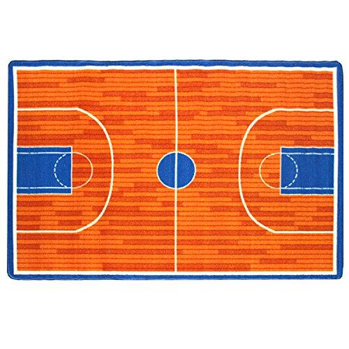 Mybecca Kids Rug Basketball Ground 5' x 7' Children Area Rug for Playroom andamp; Nursery - Non Skid Gel Backing (59