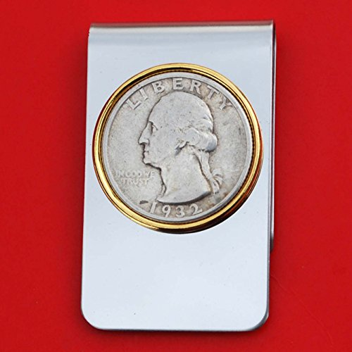 US 1932 Washington Quarter 90% Silver Coin Stainless Steel Gold Silver 2 Tone Money Clip New by jt6740