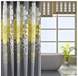 Grey and Yellow Curtains Wimaha Peony Flower Fabric Shower Curtain Mildew Resistant Waterproof Standard Shower Curtain for Bathroom Yellow and Grey, 72 x 72