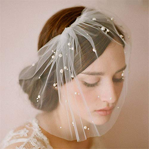 (ACAO Ellie'S Bridal Ivory Tulle Pearl Wedding Bridal Birdcage Face Cover Party Prom Veil with Comb)