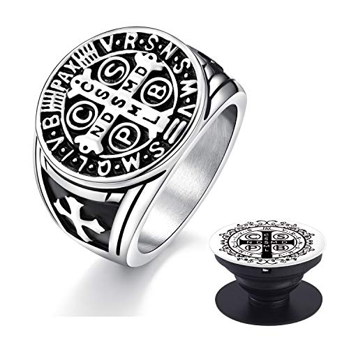 Saints Cell (XIEXIELA Men's Ring.St Benedict Exorcism Stainless Steel Religious Catholic Roman Cross Demon Protection Ghost Hunter. Cell Phone Holder Silver Size 7)