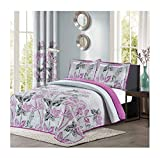 Purple Duvet Covers and Curtains All American Collection Purple and Grey Modern Plaid 3-Piece King Bedspread and Pillow Sham Set   Matching Curtains Available!