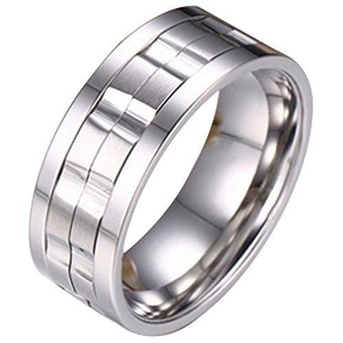 (Nanafast 9MM Stainless Steel Spinner Rings For Mens & Womens Brick Double Gear Design Wedding Bands Ring Silver Size 12)