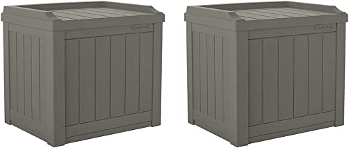 Suncast 22 Gallon Small Resin Patio Storage Deck Box and Seat, Stoney 2 Pack