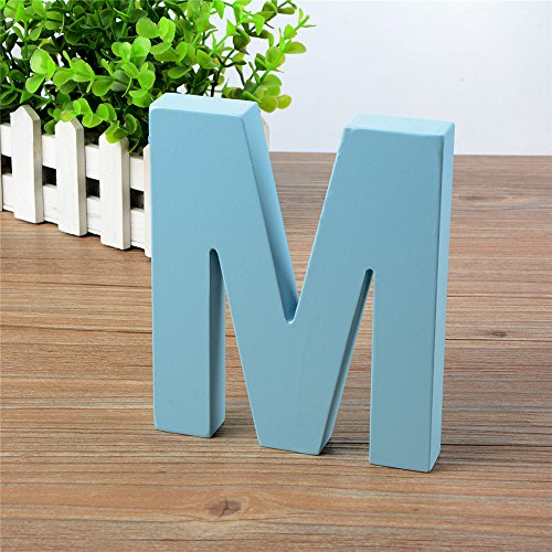 Wooden Hanging Wall Letters M - Blue Decorative Wall Letter for Children's Nursery Baby's Room, Baby Name and Girls Bedroom Décor