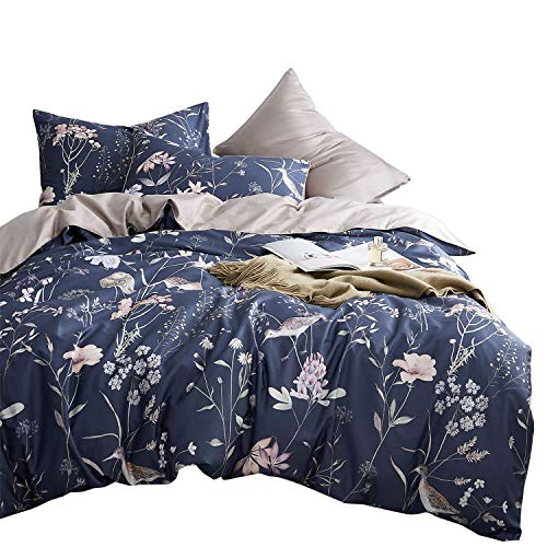 Wake In Cloud - Botanical Duvet Cover Set, Cotton Sateen Bedding, Bird Floral Flowers Pattern Printed on Navy Blue, Solid Plain Light Gray Grey on Reverse Side (3pcs, Queen Size)