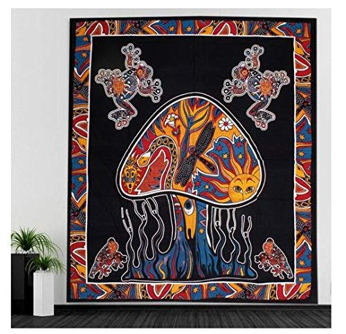 (QCWN Trippy Psychedelic Mushroom Tapestry Frogs Magic Shrooms Fantasy Bohemian Bedding Bedspread Wall Hanging Tapestry for Home Decor.Multi 78x58Inch)
