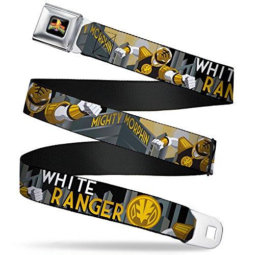Buckle-Down Seatbelt Belt - WHITE RANGER Action Poses/Logo/Skyline