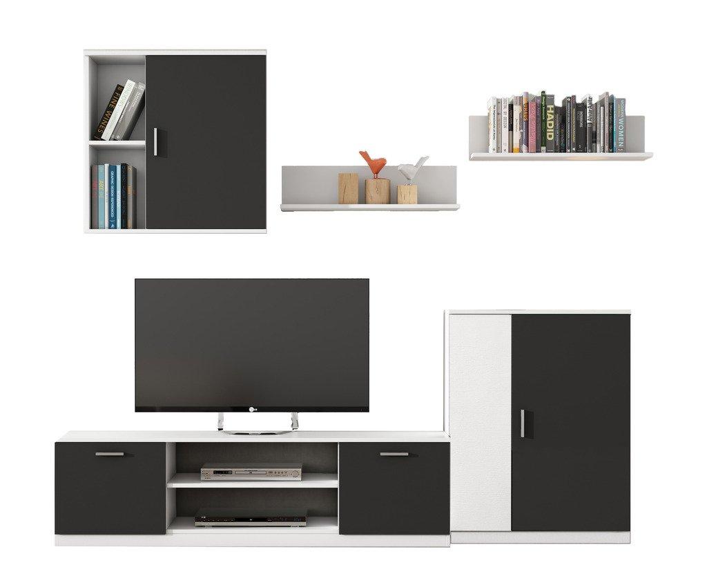 HOGAR24 Mueble de salón Moderno Modular Lacado Blanco y Negro.