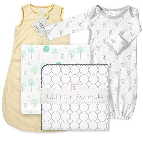 (SwaddleDesigns Ultimate Baby Gift Set with Microfleece Sleeping Sack, 4 Pieces, Pastel Yellow)