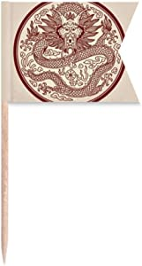 Chinese Dragon Animal Circle Portrait Toothpick Flags Labeling Marking for Party Cake Food Cheeseplate