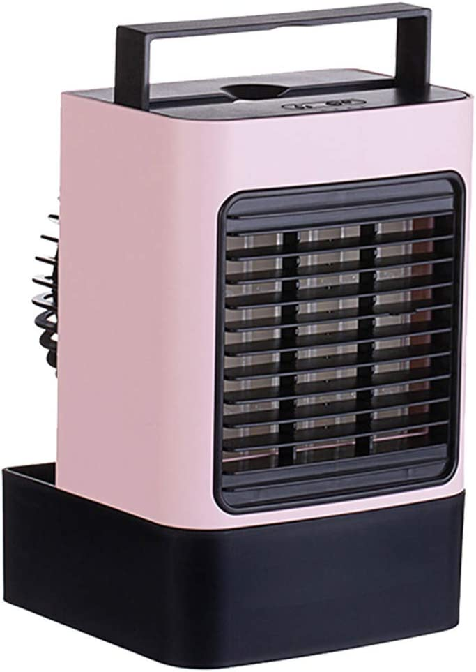XTDGN 4-in-1 Portable Air Conditioner Fan with Light, Personal Air Cooler with 3 Speeds, USB Charging, Ultra Quiet Air Circulator Humidifier for Home, Office, Car,Pink