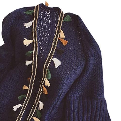 Mode Corto Sciolto Lunga Marca Pullover A Maglia Eleganti Autunno Bolawoo Aperto Tassels Manica Tempo Di Ruvida Navy Forcella Fashion Outerwear Vintage Libero Donna Giacca Giacche xIOqnwfz