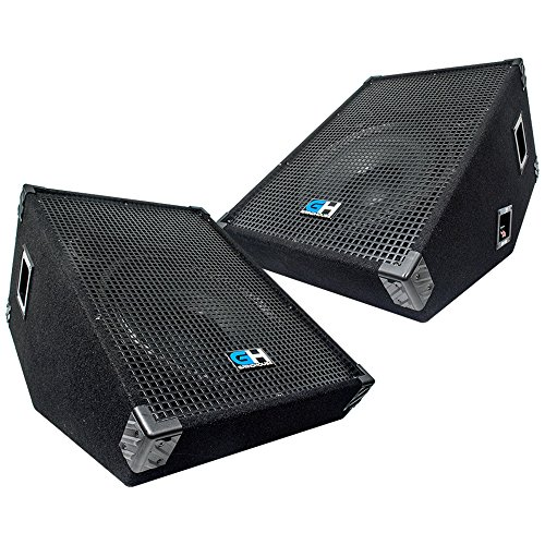 (Grindhouse Speakers - GH15M-Pair - Pair of 15 Inch Passive Wedge Floor / Stage Monitors  400 Watts RMS each - PA/DJ Stage, Studio, Live Sound 10 Inch Monitor )