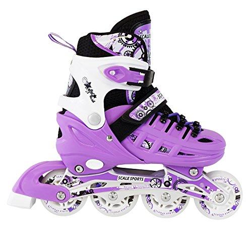 Review Kids Adjustable Inline Skates 6 PCS Purple Protective Gear Helmet Durable Safe Outdoor Roller Set Size 3-6 US