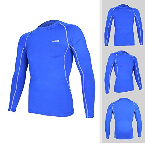 Élastique Longues Séchage Tofern Running Chemise Pour Sports Respirant Chiffon Manches Primer Homme Gym Bleu Rapide Corps qUww5Oxat