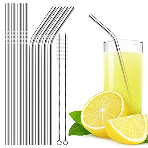 Stainless Steel Drinking Straws Set of 8 with 2 Cleaning Brushes, DLAND 10.5 inch Drinking Straw (4 Straight and 4 Bend) for 30 oz Tumbler and 20 0z Tumbler, Fit for Yeti Rtic