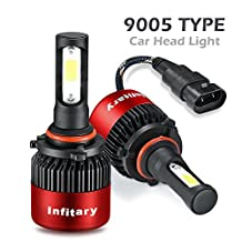 ALUNAR H4/H7 LED Headlight Bulbs Hi/Lo Beam 12V Auto Headlamp Dual Beam Head Light Hi/Lo 72W 6500K 8000LM Extremely Super Bright COB Chips Infitary Replacement Lights All-in-one Conversion Kit for Car 1 Pair (Red 9005/HB3 2 PCS)
